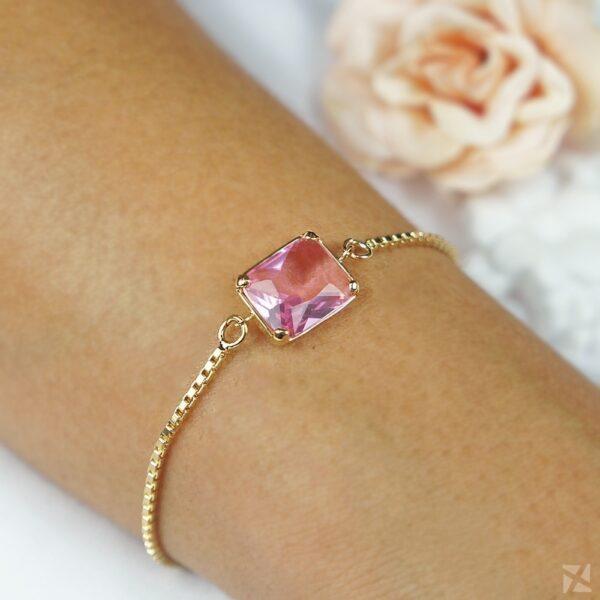 Pulseira folheada a Ouro com Cristal Rosa