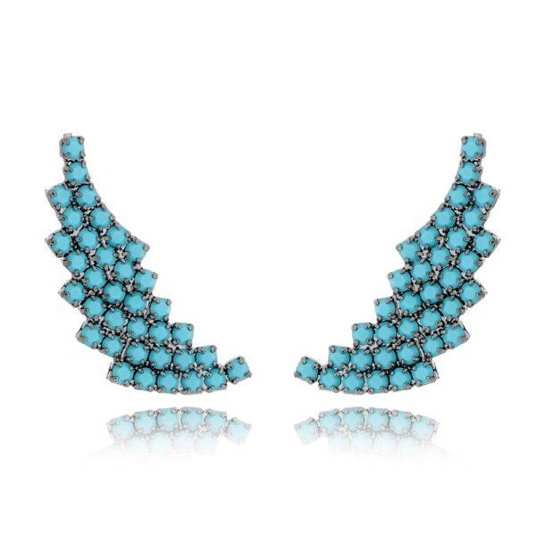 Brinco Ear Cuff com Pedras Azul Turquesa em Formato de Asa