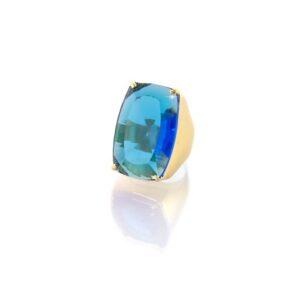 Maxi Anel com Pedra Natural Azul