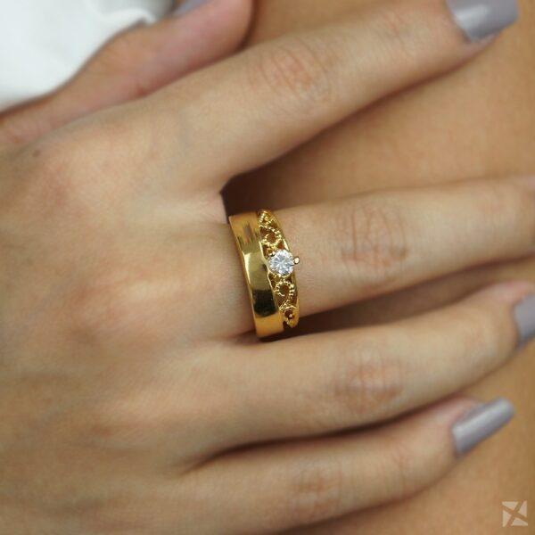 Anel de Coroa Folheado a Ouro com Zircônia