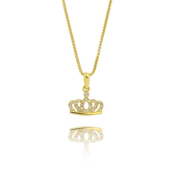 Colar Coroa folheado a ouro com microzircônias