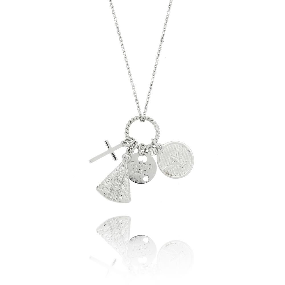Colar com pingente Medalhas Religiosas em Ouro Branco   Kitbox 1a2737131e