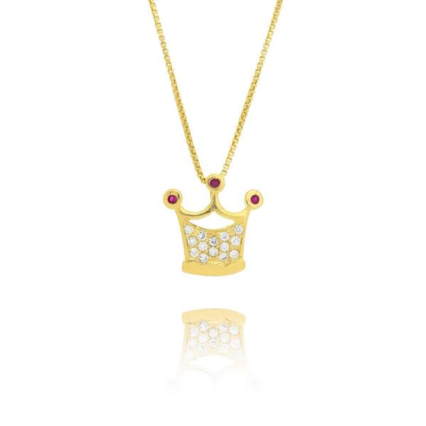 Colar Coroa folheado a ouro com microzircônias transparentes e rubi