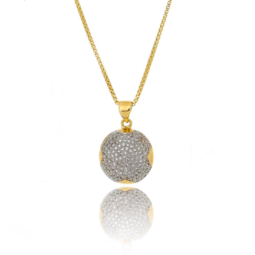 5cd3d723096ad Colar com pingente redondo folheado a ouro com microzircônias   Kitbox