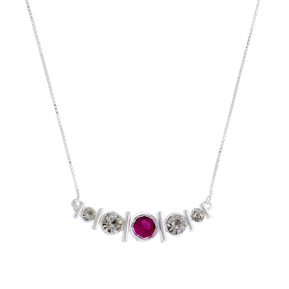 Colar com cristais brancos e rosa folheado em prata   Kitbox 40c3491d3e
