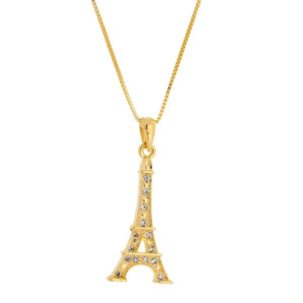 Colar com Pingente Torre Eiffel com Zircônias