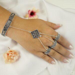 Pulseira com Anéis em Prata Vintage