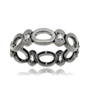 Bracelete Círculos Geométrico em Ródio negro