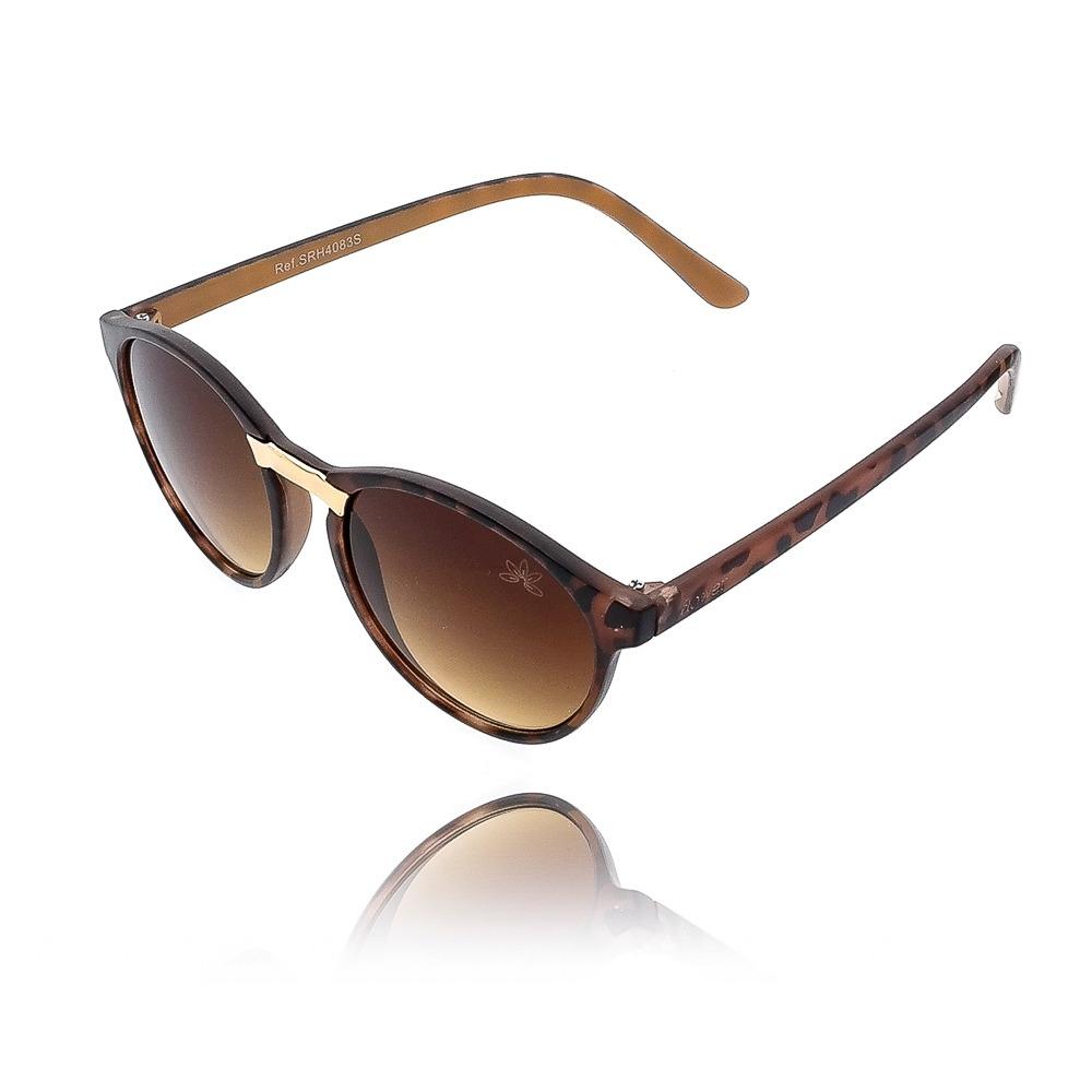 15f8661a3204a Óculos de Sol Redondo com Estampa de Onça e Detalhe Dourado   Kitbox