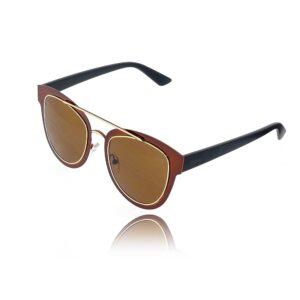 Óculos de Sol Feminino com Detalhes Cobreados e Dourados