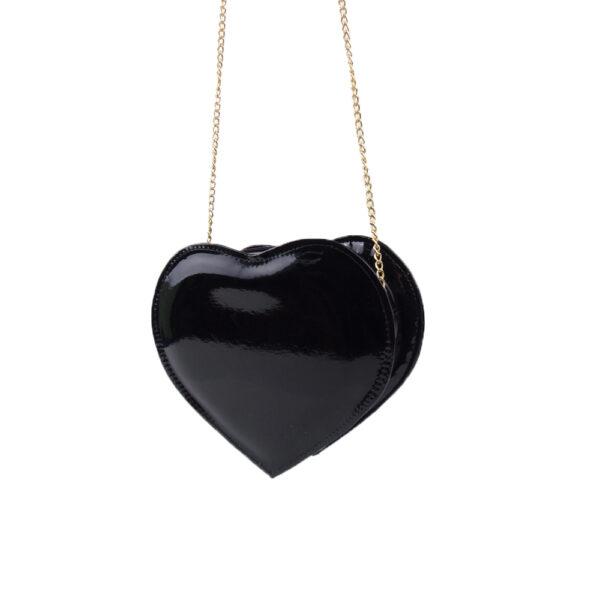 Bolsa de Coração Preta com Corrente Dourada