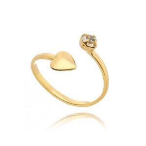 Anel de Falange Coração Ponto de Luz Dourado