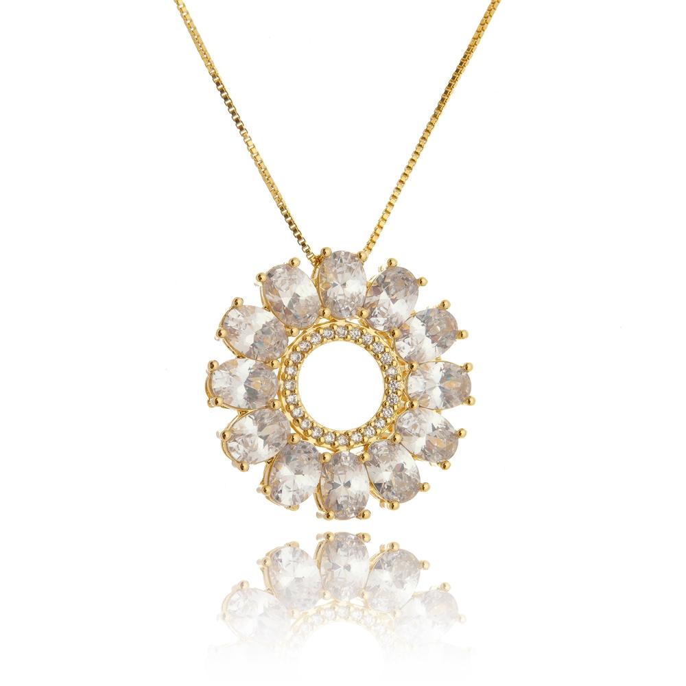 Colar Mandala de Zircônia Folheado a Ouro - Lançamento   Kitbox 29a150b97b