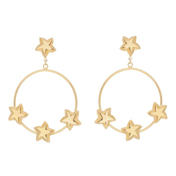 Brinco de Argola com Estrelas Dourado