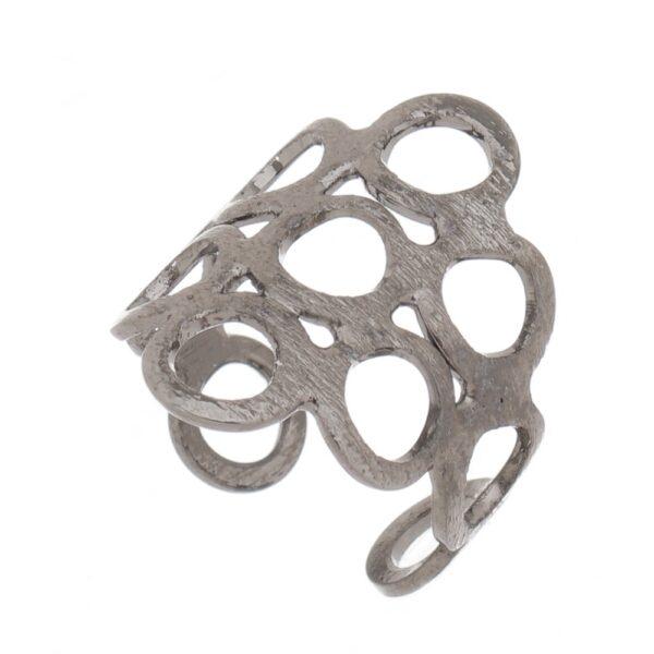 Kit de Anéis reguláveis Círculos vazados em Ródio negro