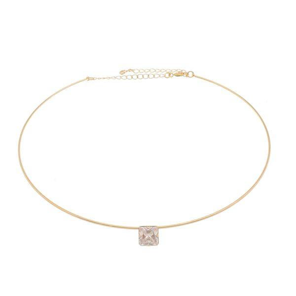 Choker Circular com Zircônia transparente dourada