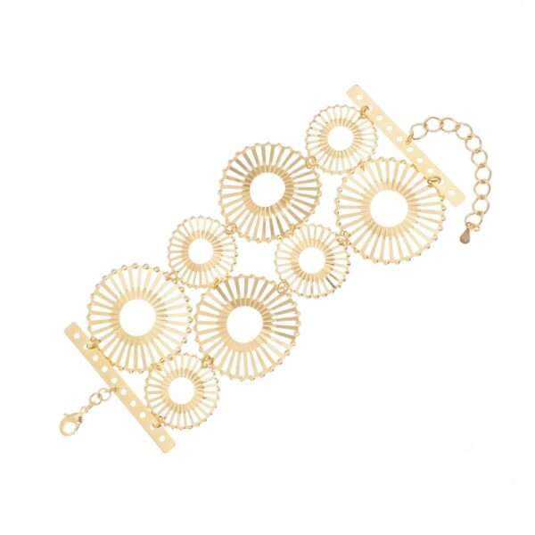 Pulseira Círculos com Detalhes Vazados Dourada