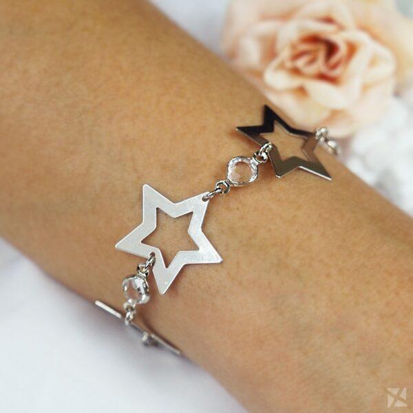 Pulseira Estrelas com Zircônias em Ouro Branco