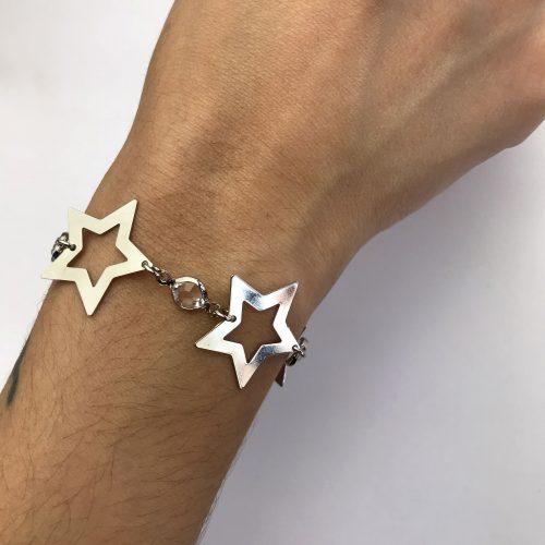 Pulseira Estrelas Com Zircônias Ouro Branco