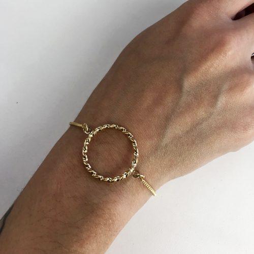 Pulseira Feminina com Detalhe Circular Folheada em Ouro 18k