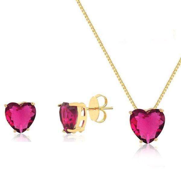 Conjunto de Coração Rosa folheado em ouro 18k