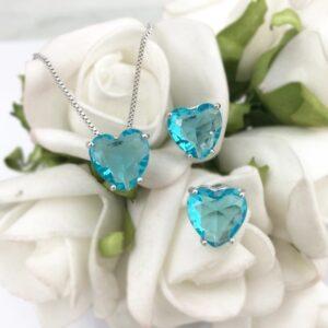 Conjunto de Coração Azul folheado em ouro branco