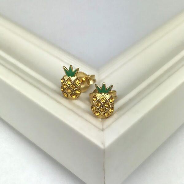 Brinco de abacaxi folheado em ouro 18k