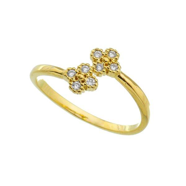 Anel com Flores de Zircônias Regulável Folheado em Ouro 18k
