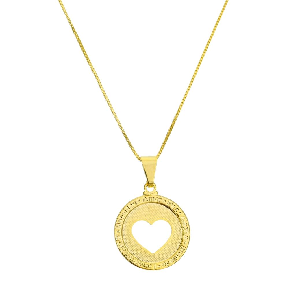 Colar Medalha Coração Vazado Folheado em Ouro 18k   Kitbox 8f205c3364