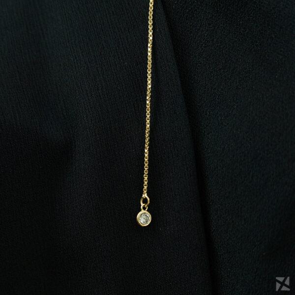 Choker tipo Gravatinha com Zircônias folheado em ouro 18k