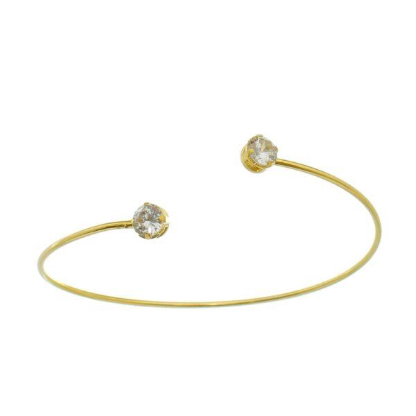 Bracelete Fino Dourado Regulável com Zircônias