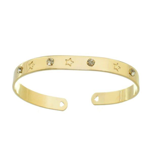 Bracelete com Pontos de Luz e Estrelas Folheado