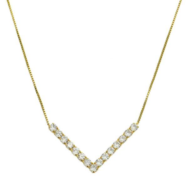 Colar Triangulo com Zircônias folheado em ouro 18k