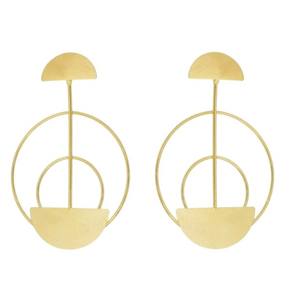 Brinco Geométrico Círculos folheado em ouro 18k
