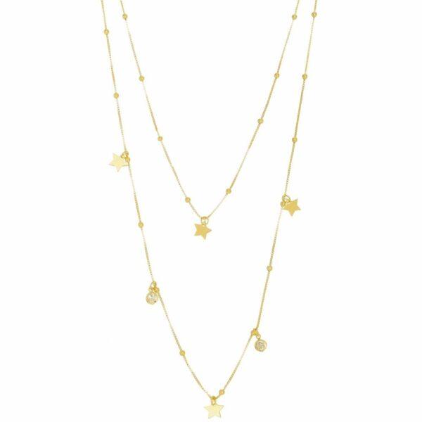 Colar duplo com Bolinhas, Estrelas e Zircônias folheado em ouro 18k