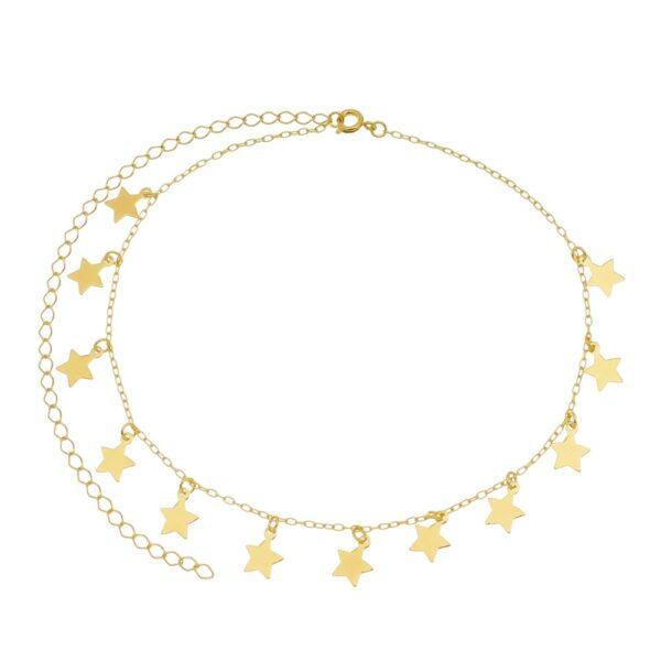 Gargantilha choker com Estrelas folheada em ouro