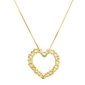 Colar Mandala em formato de Coração Dourado