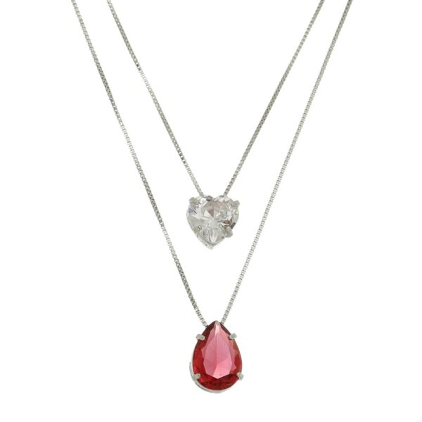 Colar duplo com cristal Rubi e zircônia de Coração