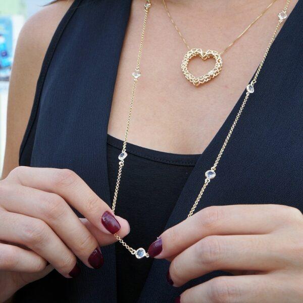 Colar longo com pontos de luz Tiffany inspired Dourado