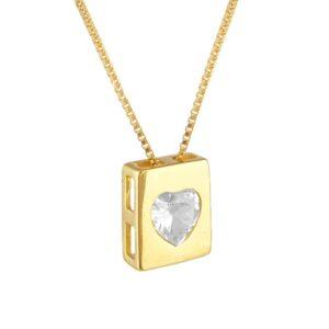 Colar com plaquinha de zircônia de coração folheado a ouro 18k