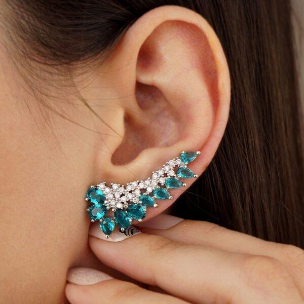Brinco ear cuff com pedra Turmalina e zircônias Folheado em ouro branco