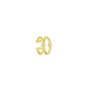 Piercing Fake Duplo com Pontos de Luz Folheado em ouro 18k