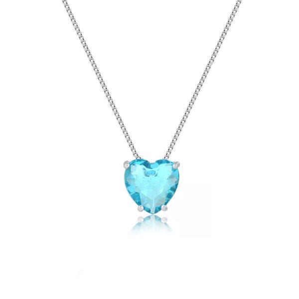 Colar de Coração de Pedra Natural Azul Clara