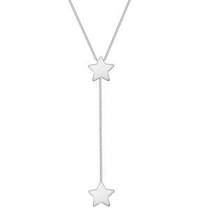 Colar Gravatinha com Estrelas folheado em ouro branco