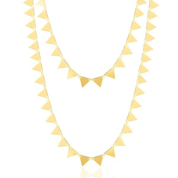 Colar duplo com triângulos folheado em ouro 18K