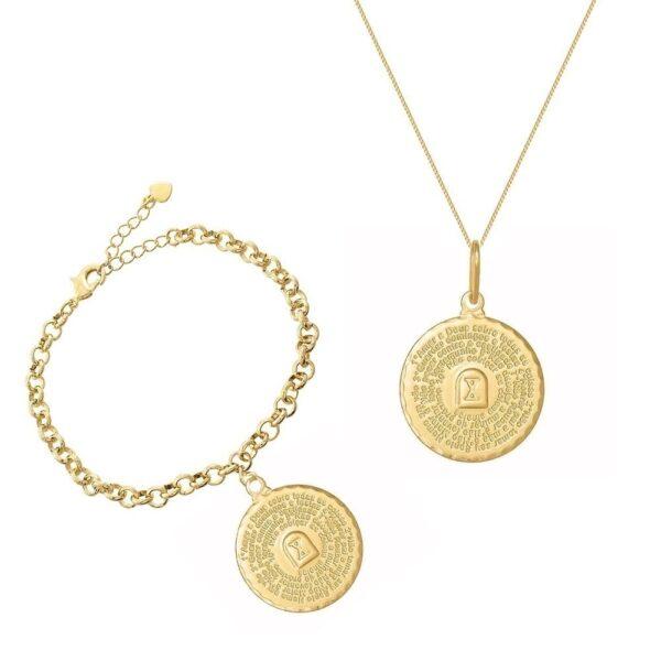 Kit Pulseira e Colar com os Dez Mandamentos Dourado