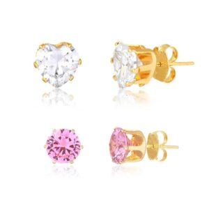 Kit de brincos de coração cristal e bolinha rosa folheado em ouro 18k
