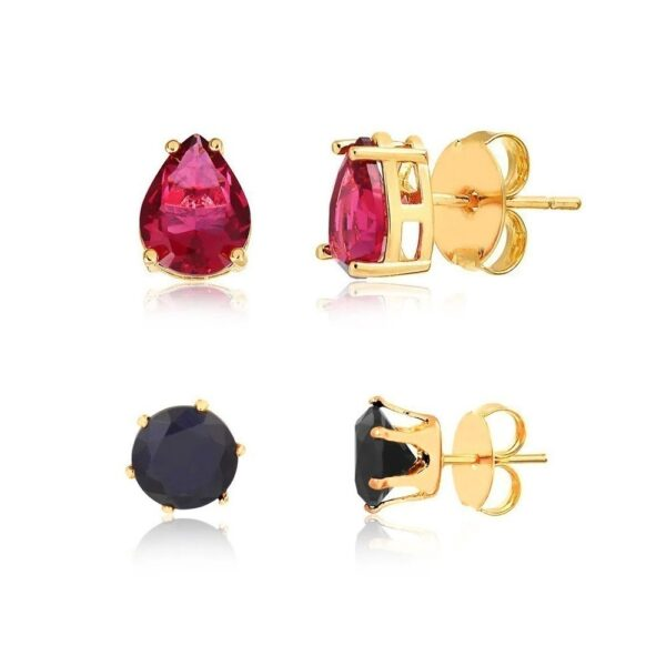 Kit de Brincos com gota rosa e pedra preta folheados em ouro 18k