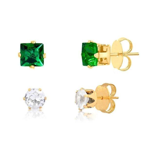 Kit de brincos quadrado verde e bolinha cristal folheados em ouro 18k