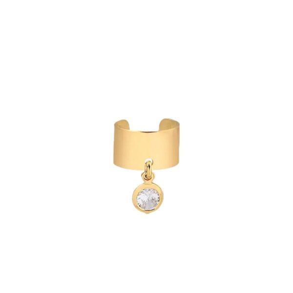 Piercing de pressão com pingente ponto de luz folheado em ouro 18k